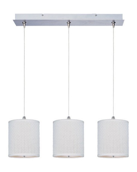 Satin Nickel With Grass Cloth Fabric Elements 3 Light 8.5 Inch Drum Shade Linear Foyer Pendant - Bulbs Included