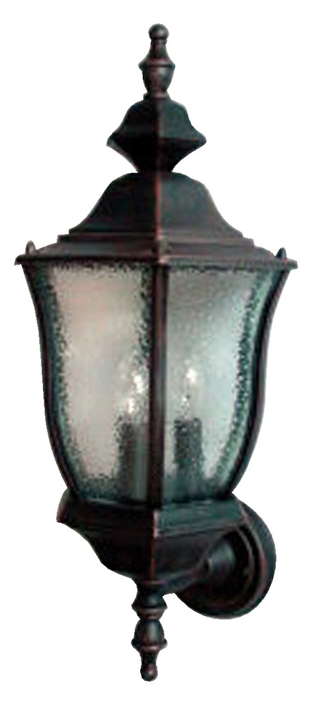 "Madrona Collection 3-Light 20"" Rust Patina Outdoor Wall Light with Seedy Glass 1014RP"