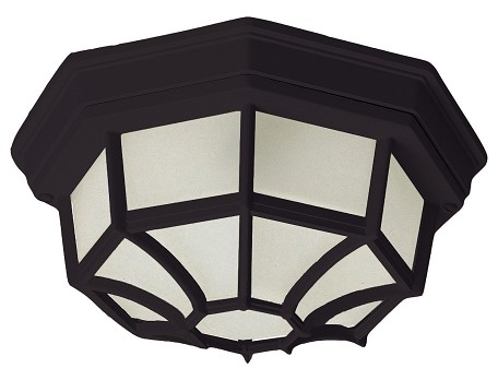"Crown Hill Collection 2-Light 11"" Black Outdoor Ceiling Light with Frosted Glass 1020BK"