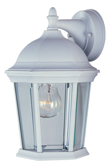 "Builder Cast Collection 1-Light 12"" White Outdoor Wall Light with Clear Glass 1024WT"