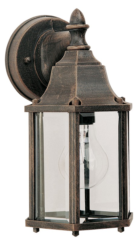"Builder Cast Collection 1-Light 10"" Rust Patina Outdoor Wall Light with Clear Glass 1026RP"