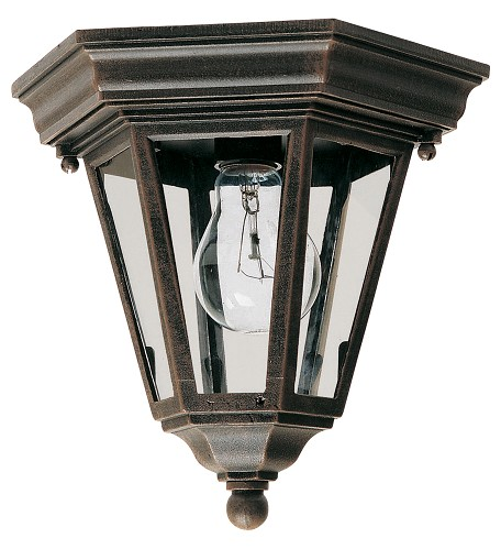 "Westlake Collection 1-Light 9"" Rust Patina Outdoor Ceiling Light with Clear Glass 1027RP"