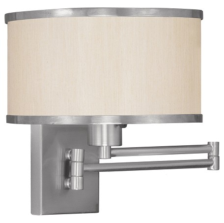 Brushed Nickel 1 Light 100 Watt 11in. Wide Wall Sconce with Champagne Hardback Shade from the Park Ridge Collection