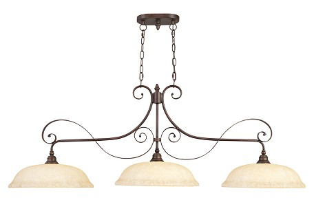 Imperial Bronze 3 Light 300W Island / Billiard Light With Medium Bulb Base And Vintage Scavo Glass From Manchester Series