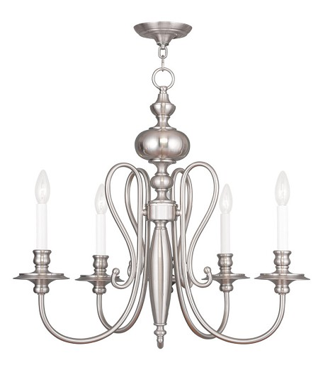 Five Light Brushed Nickel Up Chandelier