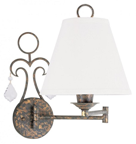 "Chesterfield Collection 1-Light 10"" Venetian Golden Bronze Swing Arm Wall Lamp with Off-White Linen Hard Back Shade 6440-71"