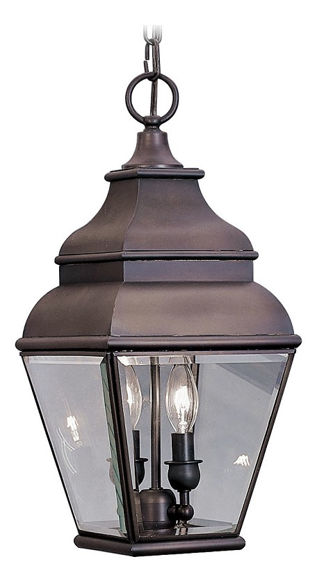 Bronze 2 Light 120W Outdoor Pendant with Candelabra Bulb Base and Clear Beveled Glass from Exeter Series