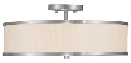 Brushed Nickel 3 Light 180 Watt Semi-Flush Ceiling Fixture with Champagne Hardback Shade from the Park Ridge Collection