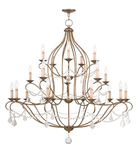 Antique Gold Leaf Chesterfield 20 Light 3 Tier Chandelier