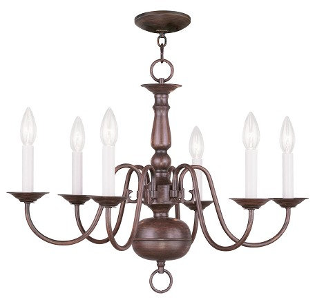 "Williamsburg Collection 6-Light 24"" Imperial Bronze Chandelier 5006-58"