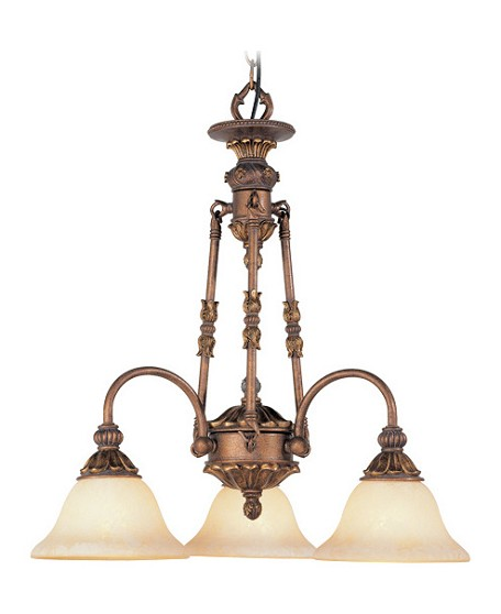 Crackled Greek Bronze 3 Light 180W Chandelier with Medium Bulb Base and Vintage Scavo Glass from Sovereign Series