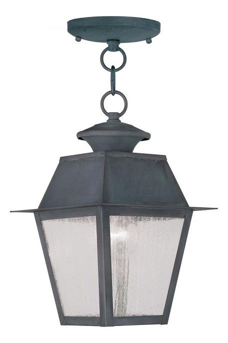 "Mansfield Collection 1-Light 8"" Charcoal Outdoor Chain Hang with Seeded Glass 2164-61"