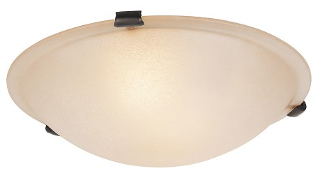 Bronze 3 Light 180W Flushmount Ceiling Light with Medium Bulb Base and Honey Alabaster Glass from Home Basics Series