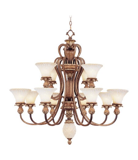 Venetian Patina 12 Light 720W Chandelier With Medium Bulb Base And Vintage Carved Scavo Glass From Savannah Series