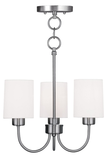 "Sussex Collection 3-Light 13"" Brushed Nickel Convertible Chain Hang/Ceiling Mount with Hand-Made Off-White Linen Hardback Sit-on Shade 5263-91"