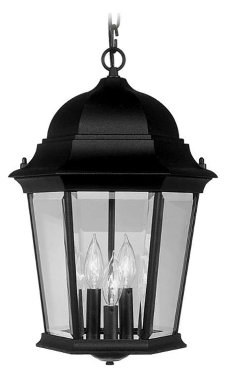 Black 3 Light 180W Outdoor Pendant with Candelabra Bulb Base and Clear Beveled Glass from Hamilton Series