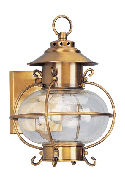 Harbor Collection 1-Light Hand Blown Clear Glass Solid Brass Flemish Brass Finished Outdoor Wall Lantern 2221-22