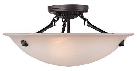 Bronze 3 Light 225W Semi-Flush Ceiling Light With Medium Bulb Base And Honey Alabaster Glass From Home Basics Series