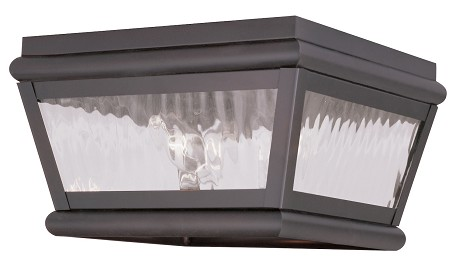 "Exeter Collection 2-Light 8"" Bronze Outdoor Ceiling Mount with Clear Water Glass 2611-07"
