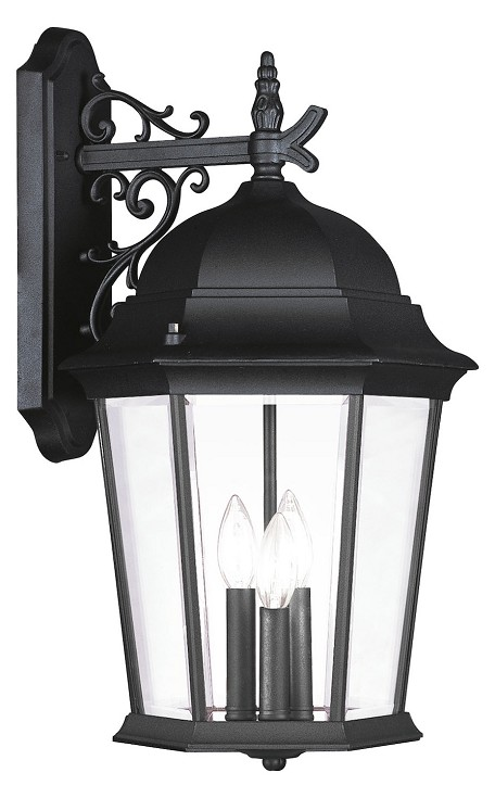 Black 3 Light 180W Down Lighting Wall Sconce with Candelabra Bulb Base and Clear Beveled Glass from Hamilton Series