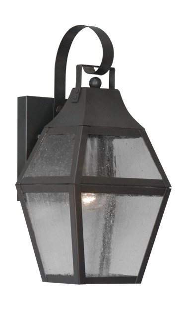 Bronze 1 Light 100W Outdoor Wall Sconce with Medium Bulb Base and Clear Seeded Glass from Augusta Series