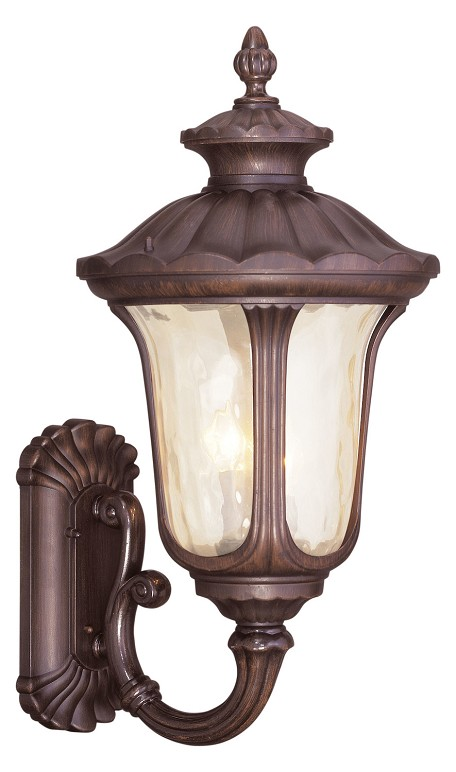 Imperial Bronze 3 Light 180W Up Lighting Wall Sconce With Candelabra Bulb Base And Light Amber Water Glass From Oxford Series