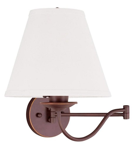 "Ridgedale Collection 1-Light 10"" Vintage Bronze Swing Arm Wall Lamp with Off-White Linen Hard Back Shade 6471-70"