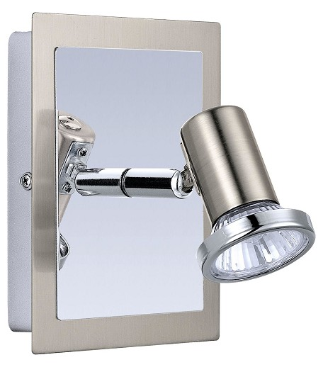 Matte Nickel and Chrome Rottelo 1x50W Wall Light in Matte Nickel and Chrome Finish