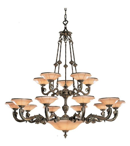 "Natural Alabaster Collection 20-Light 56"" Bronze Chandelier with Alabaster Stone 879-BZ"