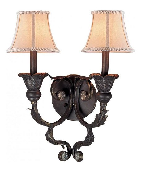 Crystorama Two Light Dark Rust Wall Light - 6802-DR