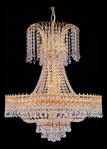 "15-Light 35"" Gold Chandelier with Clear Hand Cut Crystal 1472-GD-CL-MWP"
