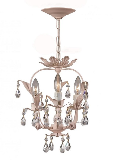 "Paris Flea Market Collection 3-Light 12"" Blush Mini Chandelier 5823-BH"