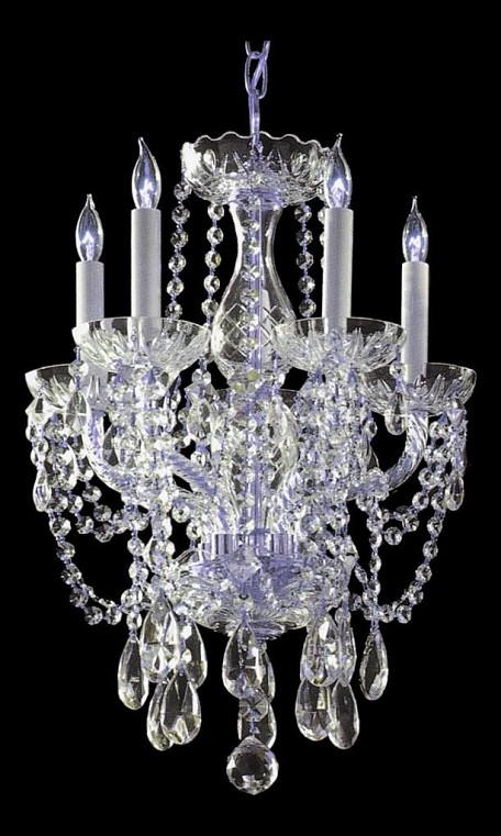 "Traditional Crystal Collection 5-Light 14"" Polished Chrome Chandelier with Clear Hand Cut Crystal 1129-CH-CL-MWP"