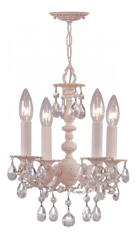 "Paris Flea Market Collection 4-Light 11"" Blush Mini Chandelier with Hand Polished Crystal 5514-BH-CL-MWP"