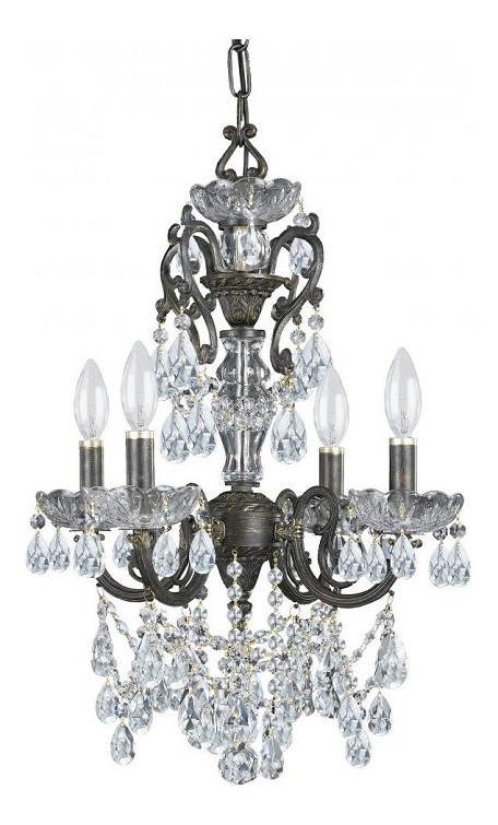 "Legacy Collection 4-Light 15"" English Bronze Mini Chandelier with Hand Polished Crystal 5194-EB-CL-MWP"
