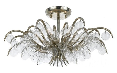 "Metro Collection 5-Light 20"" Antique Silver Semi-Flush Mount with Glass Balls 430-SA"