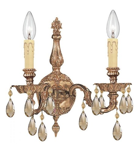 "Oxford Collection 2-Light 15"" Olde Brass Wall Sconce with Golden Teak Swarovski Elements Crystal 2502-OB-GTS"