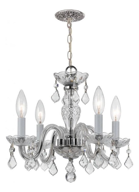 "Traditional Crystal Collection 4-Light 15"" Polished Chrome Mini Chandelier with Clear Hand Cut Crystal 1064-CH-CL-MWP"