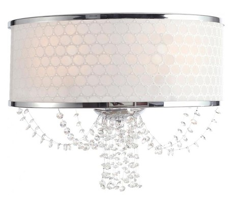 "Allure Collection 2-Light 14"" Polished Chrome Wall Sconce with Silk 9802-CH"