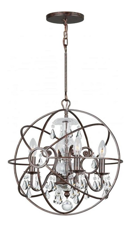 "Solaris Collection 4-Light 17"" English Bronze Mini Chandelier with Clear Hand Cut Crystal 9025-EB-CL-MWP"
