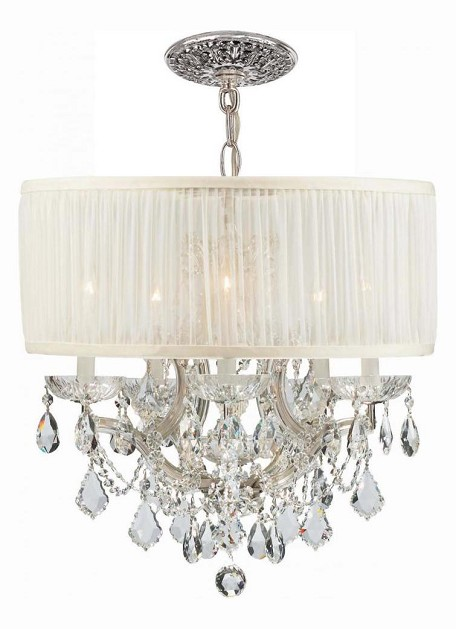 Crystorama Six Light Polished Chrome Hand Polished Glass Up Chandelier - 4415-CH-SAW-CLM