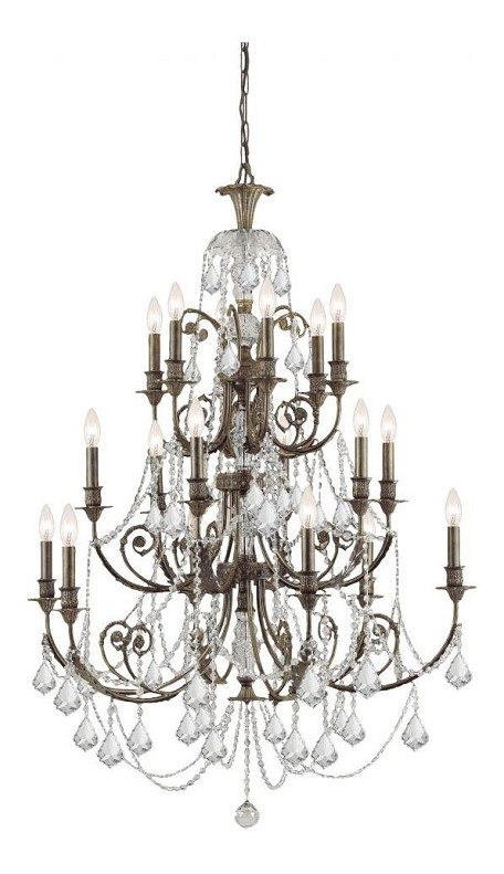 English Bronze Regis 18 Light 37in. Wide 3 Tier Wrought Iron Candle Style Chandelier with Clear Swarovski Elements Crystal