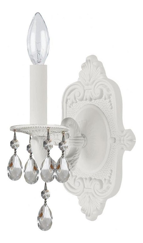 "Paris Flea Market Collection 1-Light 6"" Wet White Wall Sconce with Swarovski Elements Crystal 5021-WW-CL-S"