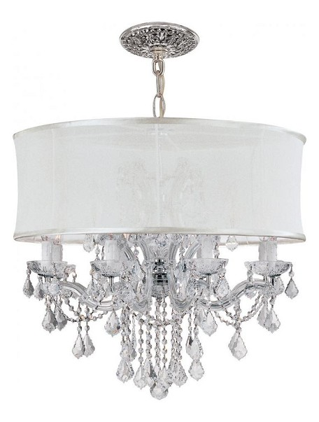 Polished Chrome Brentwood 12 Light 30in. Wide Glass Drum Chandelier and Silk Shade