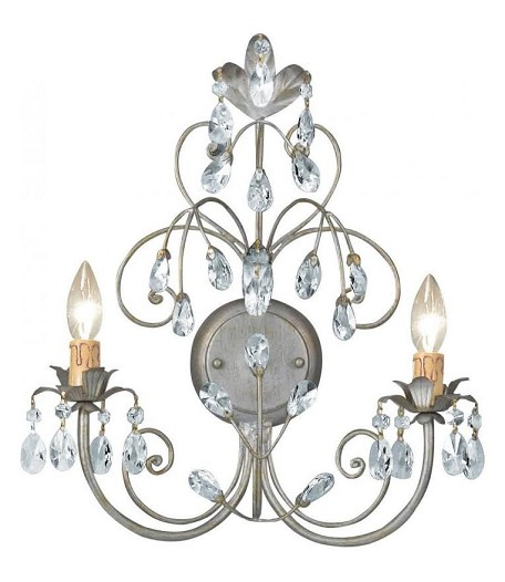 "Victoria Collection 2-Light 15"" Silver Leaf Wall Sconce 4922-SL"
