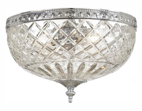 "Richmond Collection 3-Light 12"" Polished Chrome Flush Mount with Lead Crystal 117-12-CH"