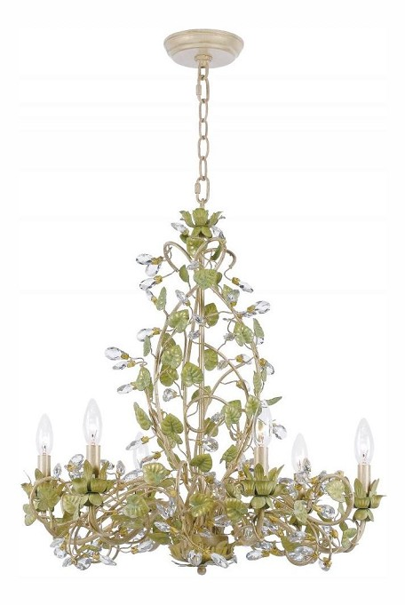 "Josie Collection 6-Light 25"" Champagne Green Tea Chandelier with Clear Hand Cut Crystal 4846-CT"