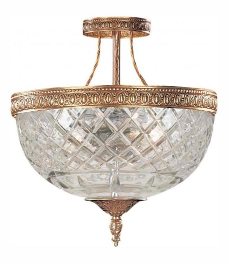 "Richmond Collection 3-Light 10"" Olde Brass Semi-Flush Mount with Lead Crystal 118-10-OB"
