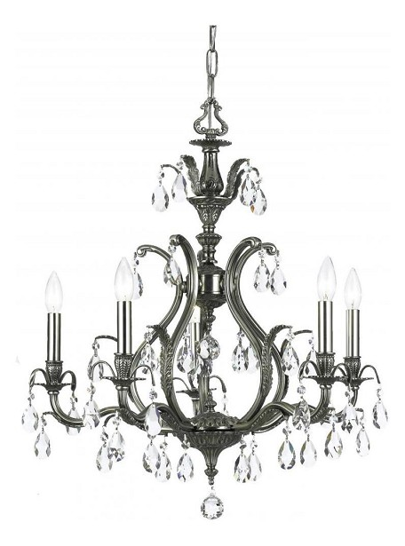 "Dawson Collection 5-Light 26"" Pewter Chandelier with Swarovski Spectra Crystal 5565-PW-CL-SAQ"
