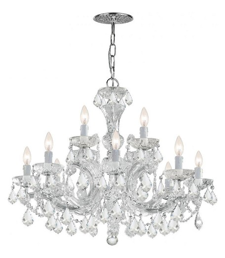"Maria Theresa Collection 12-Light 30"" Polished Chrome Chandelier with Swarovski Spectra Crystal 4479-CH-CL-SAQ"